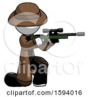 White Detective Man Kneeling Shooting Sniper Rifle