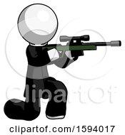 White Clergy Man Kneeling Shooting Sniper Rifle