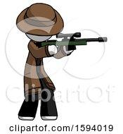 White Detective Man Shooting Sniper Rifle