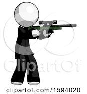 White Clergy Man Shooting Sniper Rifle