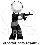 White Clergy Man Shooting Automatic Assault Weapon