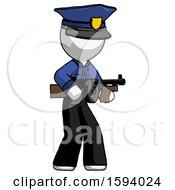 White Police Man Tommy Gun Gangster Shooting Pose