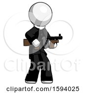 White Clergy Man Tommy Gun Gangster Shooting Pose