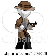 White Detective Man Tommy Gun Gangster Shooting Pose