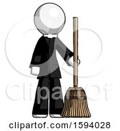 White Clergy Man Standing With Broom Cleaning Services