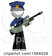 White Police Man Holding Sniper Rifle Gun