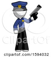 White Police Man Holding Handgun