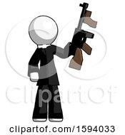 White Clergy Man Holding Tommygun
