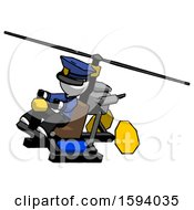 White Police Man Flying In Gyrocopter Front Side Angle Top View