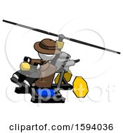 White Detective Man Flying In Gyrocopter Front Side Angle Top View