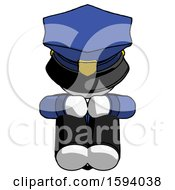 White Police Man Sitting With Head Down Facing Forward