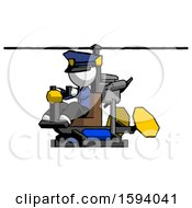 White Police Man Flying In Gyrocopter Front Side Angle View