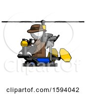 White Detective Man Flying In Gyrocopter Front Side Angle View