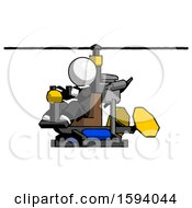 White Clergy Man Flying In Gyrocopter Front Side Angle View