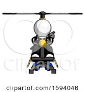 White Clergy Man Flying In Gyrocopter Front View