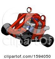 White Police Man Riding Sports Buggy Side Top Angle View