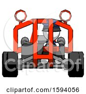 White Police Man Riding Sports Buggy Front View