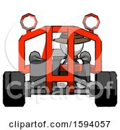 White Detective Man Riding Sports Buggy Front View