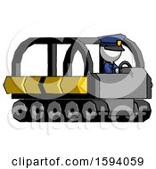 White Police Man Driving Amphibious Tracked Vehicle Side Angle View