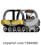 White Detective Man Driving Amphibious Tracked Vehicle Side Angle View