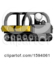 White Clergy Man Driving Amphibious Tracked Vehicle Side Angle View