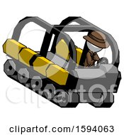 White Detective Man Driving Amphibious Tracked Vehicle Top Angle View