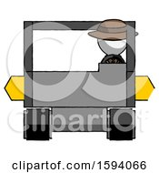 White Detective Man Driving Amphibious Tracked Vehicle Front View