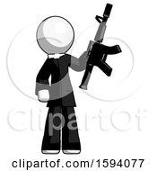 White Clergy Man Holding Automatic Gun