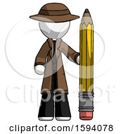 White Detective Man With Large Pencil Standing Ready To Write
