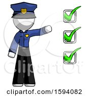 White Police Man Standing By List Of Checkmarks