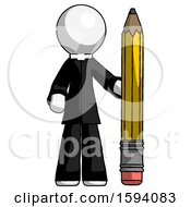 White Clergy Man With Large Pencil Standing Ready To Write