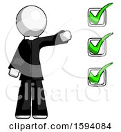 White Clergy Man Standing By List Of Checkmarks