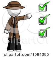 White Detective Man Standing By List Of Checkmarks