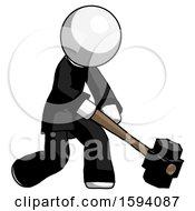 White Clergy Man Hitting With Sledgehammer Or Smashing Something At Angle