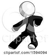 White Clergy Man Karate Defense Pose Left