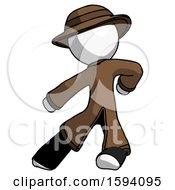 White Detective Man Karate Defense Pose Left