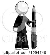 White Clergy Man Holding Large Pen