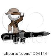 White Detective Man Riding A Pen Like A Giant Rocket
