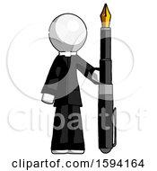 White Clergy Man Holding Giant Calligraphy Pen