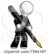 White Clergy Man Drawing Or Writing With Large Calligraphy Pen