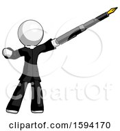 White Clergy Man Pen Is Mightier Than The Sword Calligraphy Pose