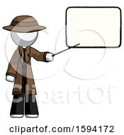 White Detective Man Giving Presentation In Front Of Dry Erase Board
