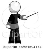 White Clergy Man Teacher Or Conductor With Stick Or Baton Directing