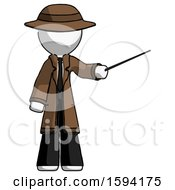 White Detective Man Teacher Or Conductor With Stick Or Baton Directing