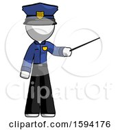 White Police Man Teacher Or Conductor With Stick Or Baton Directing