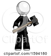 White Clergy Man With Sledgehammer Standing Ready To Work Or Defend