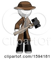 White Detective Man With Sledgehammer Standing Ready To Work Or Defend
