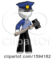 White Police Man With Sledgehammer Standing Ready To Work Or Defend
