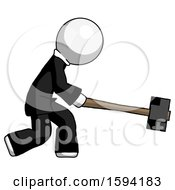 White Clergy Man Hitting With Sledgehammer Or Smashing Something