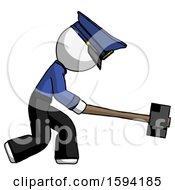 White Police Man Hitting With Sledgehammer Or Smashing Something
